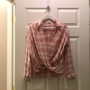 Pink and White Plaid Wrap Top